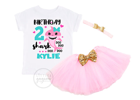 Girls Baby Shark 2nd Birthday Personalized Outfit