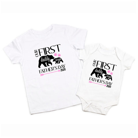 First Fathers Day Daddy Baby Boy Bear Matching Shirt Bodysuit