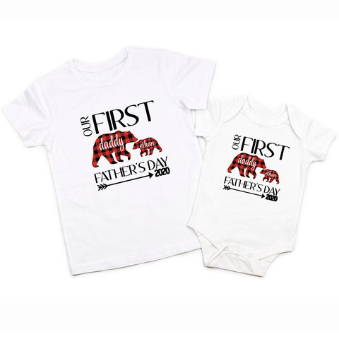 Our First Fathers Day Buffalo Plaid Daddy Baby Boy Bear Matching Shirt Bodysuit
