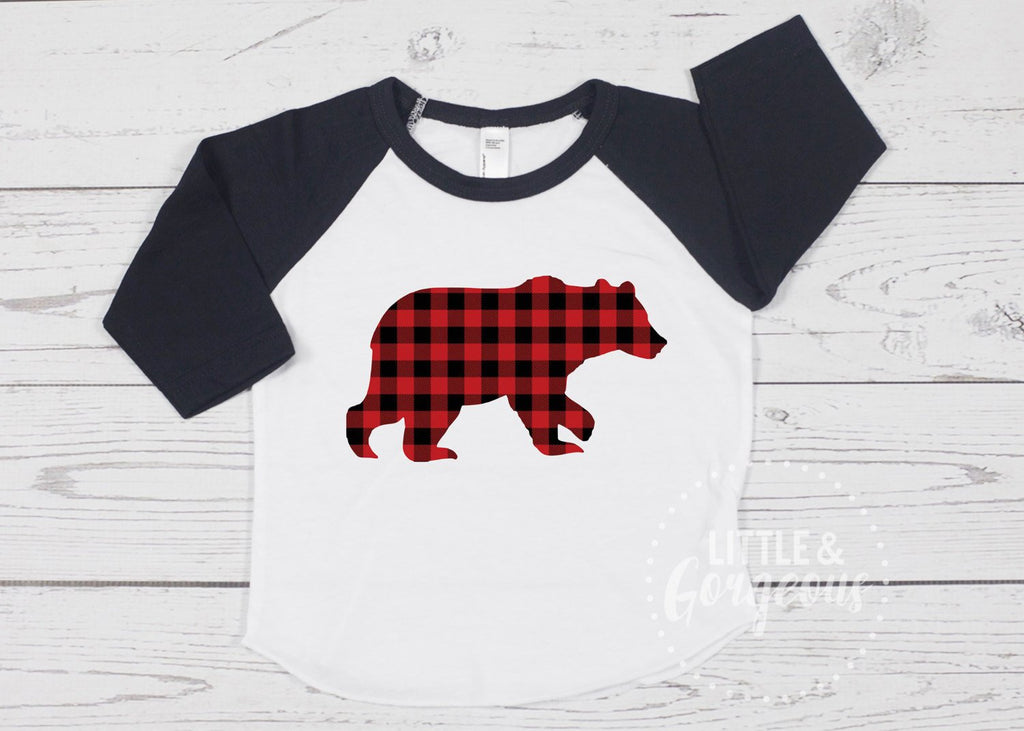 Boys Bear Raglan Boys Buffalo Plaid Raglan Boys Plaid Bear Boys Raglan Moose Boys Clothes Boys Christmas Shirt Baby Raglan