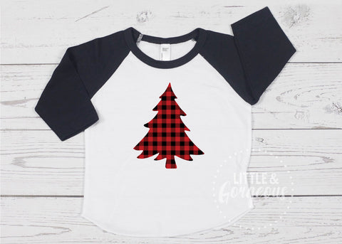 Boys Christmas Raglan Boys Buffalo Plaid Shirt Boys Plaid Tree Shirt Boys Raglan Shirt Boys Clothes Boys Christmas Shirt Baby Raglan