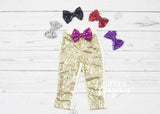 Girls Gold Sparkle Pants Birthday Outfit Gold Sequin Pants Girls Sparkle Leggings Girls Sequin Leggings Glitter Pants Glitter Leggings