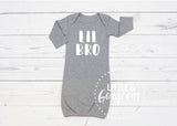 Baby Little Brother Lil Bro Baby Boy Outfit Going Home Outfit Newborn Outfit Baby Shower Gift Coming Home Outfit Baby Gown Baby Boy