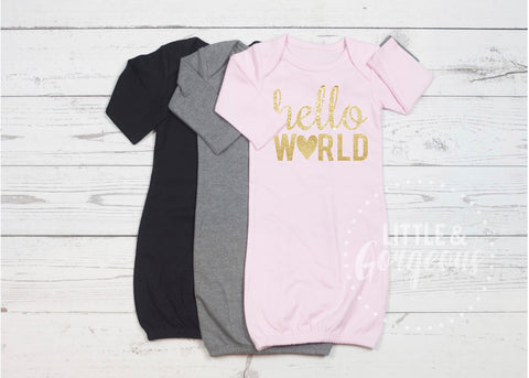 Hello World Going Home Outfit Newborn Outfit Baby Shower Gift Coming Home Outfit Baby Gown Baby Gift Baby Girl