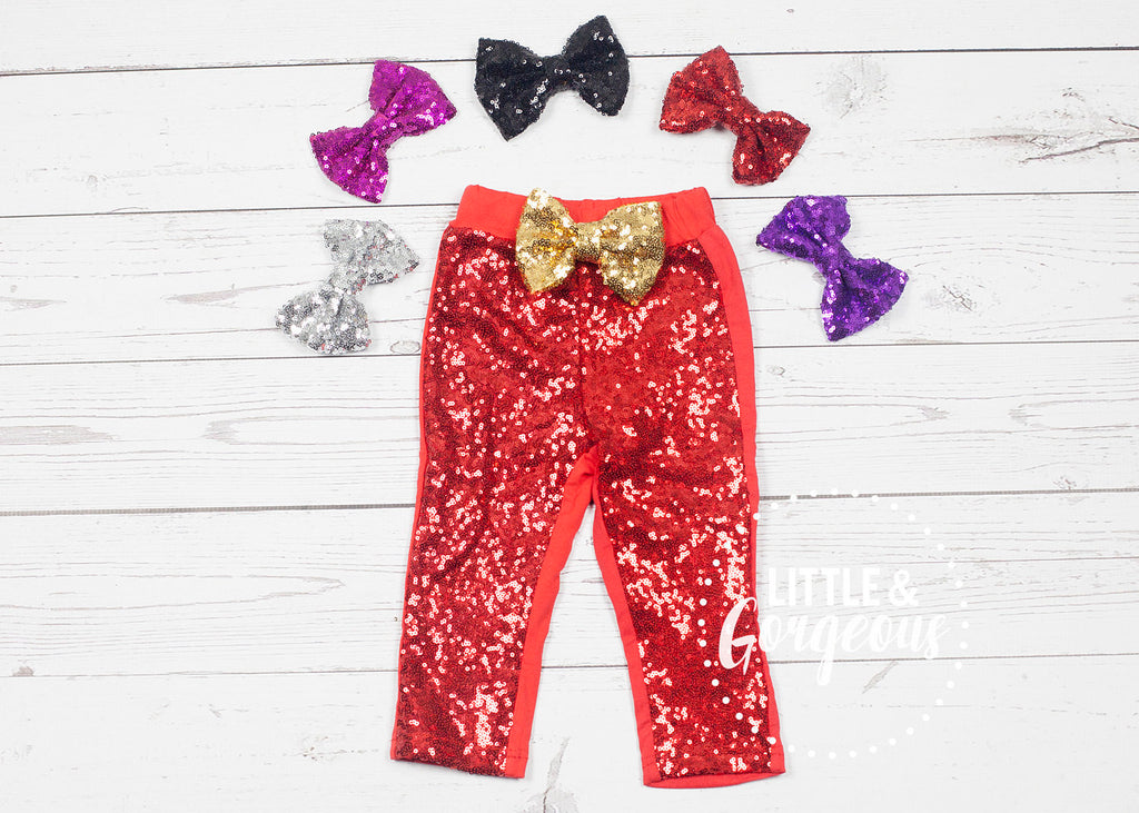 Red Sequin Pants, Girls Red Sparkle Pants, Girls Sparkle Leggings, Girls Sequin Leggings, Glitter Pants, Glitter Leggings, Holiday Outfit