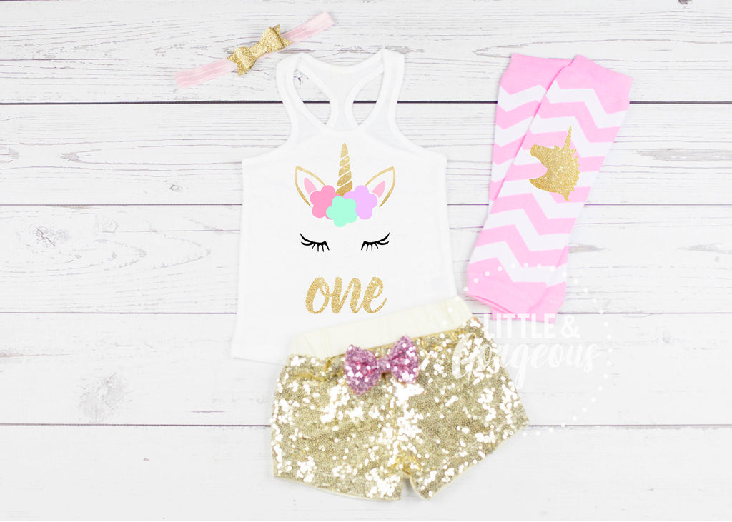 Unicorn First Birthday Outfit 1st Birthday Outfit Unicorn Tank  top Baby Girl One Birthday 1st Birthday Unicorn Sequin Shorts