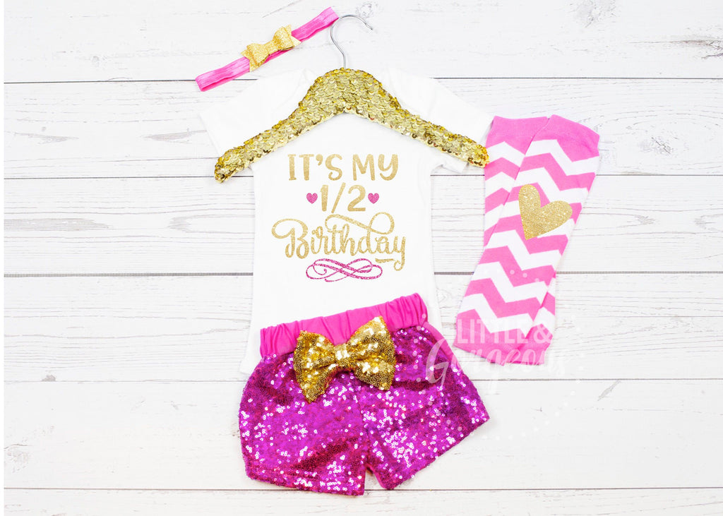 Girls Half Birthday Outfit 1/2 Birthday Onesie Half Birthday Onesie One Half Outfit Sequin Shorts