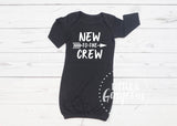 New to the Crew Black Newborn Gown Newborn Outfit Baby Shower Gift Coming Home Outfit Baby Gown Baby Gift Baby Girl