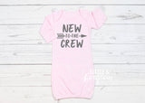 Baby Girl New to the Crew Pink Newborn Gown Newborn Outfit Baby Shower Gift Coming Home Outfit Baby Gown Baby Gift Baby Girl Outfit