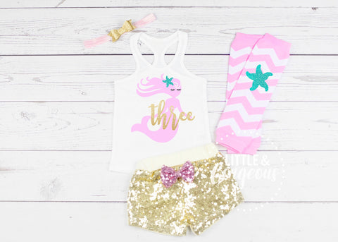 Girls Third Birthday Mermaid Outfit 3rd Birthday Outfit Mermaid Tank top Girls Three Birthday 3rd Birthday Mermaid Sequin Shorts
