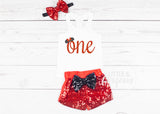 Girls First Birthday Outfit Mouse Girls 1st Birthday Tank top Mouse Birthday Baby Girl One Birthday Mouse First Birthday Sparkle Shorts