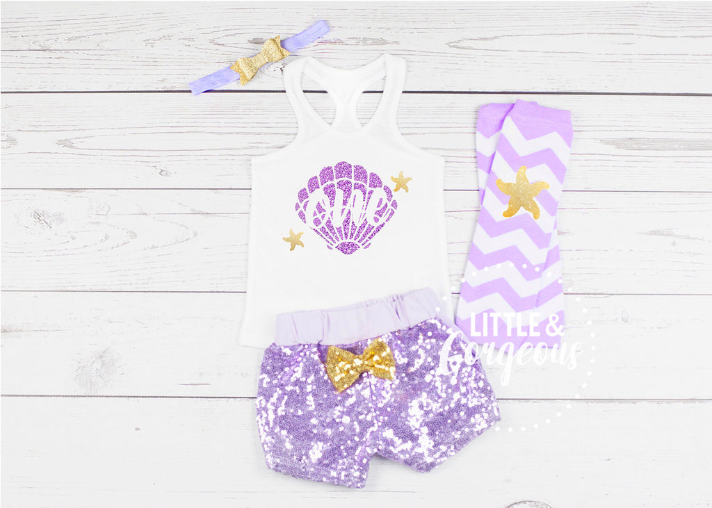 Under the Sea Mermaid First Birthday Mermaid Birthday Outfit  Seashell Birthday Under the Sea 2nd Birthday Girl Mermaid Outfit