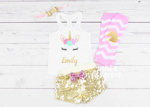 Birthday Outfit Girl Seven Six Five Four - Unicorn Personalized Shirt - Girls Unicorn Outfit - Unicorn Tank - Girls Shirt - Unicorn Shirt