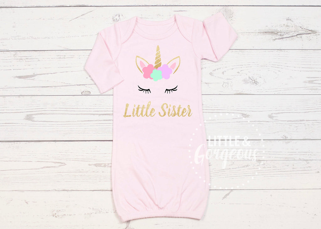Unicorn Little Sister Newborn Little Sister Newborn Unicorn Outfit Baby Shower Gift Coming Home Outfit Baby Gown Baby Gift Little Sis