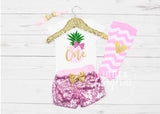 Girls First Birthday Pineapple Outfit First Birthday Pineapple Onesie 1st Birthday Girl Outfit Pineapple Birthday Outfit Sequin Shorts