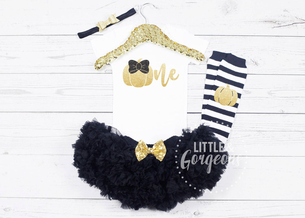 Girls First Pumpkin Birthday Outfit - 1st Birthday Outfit - Halloween Birthday - Fall Birthday Outfit - Pumpkin One