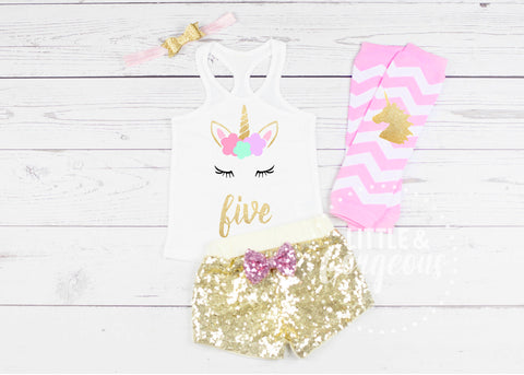 Girls Unicorn Five Birthday Outfit 5th Birthday Outfit Unicorn Tank top Girls Fifth Birthday Shirt 5th Birthday Unicorn Sequin Shorts