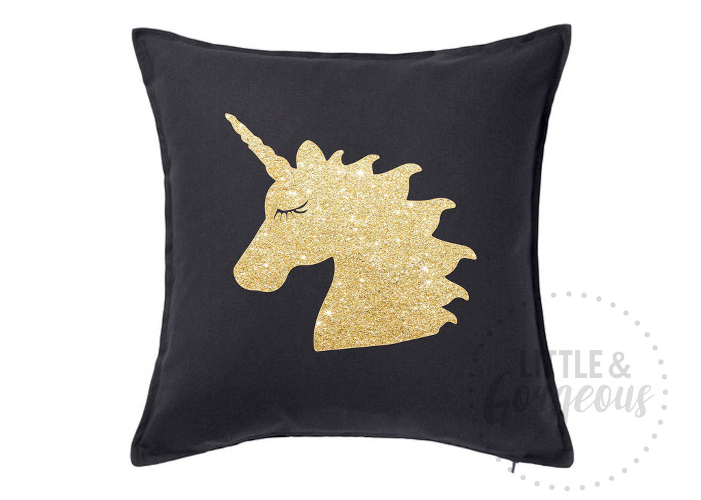 Unicorn Throw Pillow, Unicorn Glitter Throw Pillow, Girls Nursery Pillow, Unicorn Nursery, Unicorn Room Decor, Black Unicorn Pillow