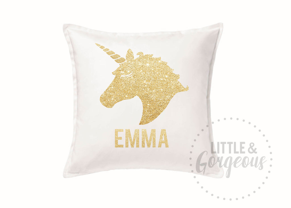 Girls Personalized Unicorn Throw Pillow, Unicorn Glitter Throw Pillow, Girls Nursery Pillow, Unicorn Nursery,  White Unicorn Pillow