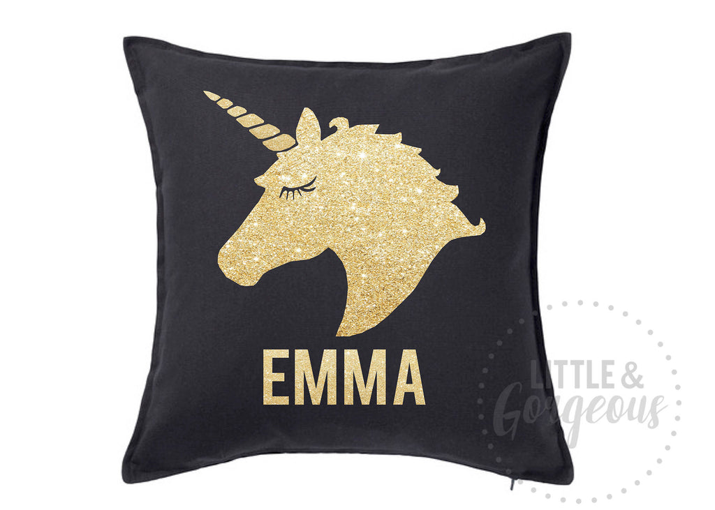 Personalized Unicorn Throw Pillow Black and Gold Unicorn Glitter Throw Pillow Girls Nursery Pillow Unicorn Nursery Black Unicorn Pillow