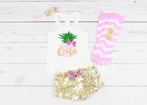Girls First Birthday Outfit 1st Birthday Pineapple Luau Outfit Summer
