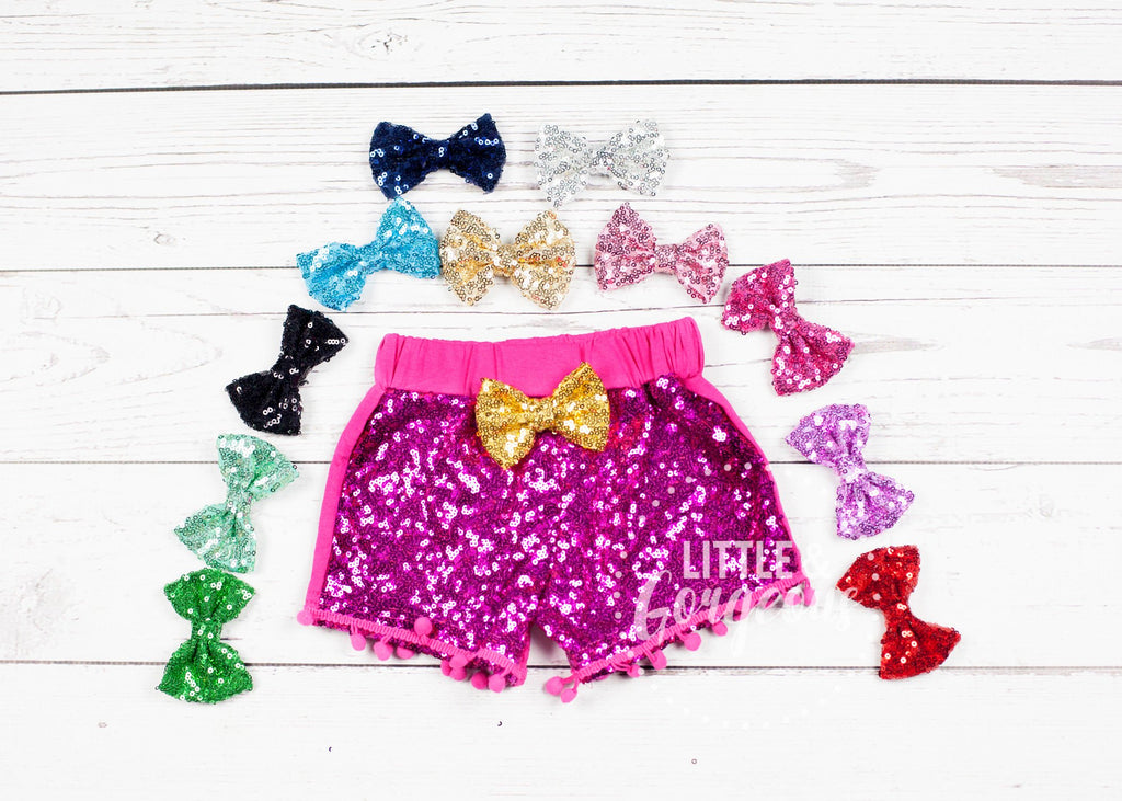 Girls Hot Pink Sparkle Shorties Pink Sequin Shorts Girls Sparkle Shorts Girls Sequin Shorts Glitter Shorts Sequin Short Hot Pink Short