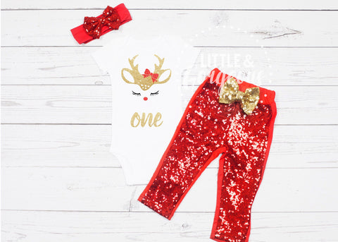 First Birthday Christmas Outfit, 1st Birthday Christmas Outfit, First Birthday Onesie, 1st Birthday Onesie, Christmas Birthday Outfit
