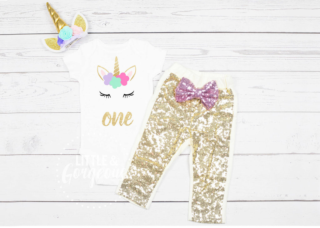 Girls First Birthday Outfit, Unicorn First Birthday, Baby Girl 1st Birthday Onesie, Unicorn Headband, First Birthday Girl