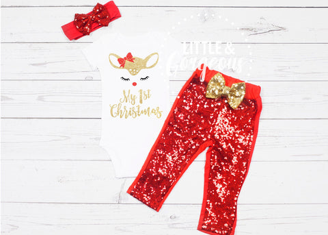 Girls First Christmas Outfit 1st Christmas Outfit First Christmas Onesie 1st Christmas Onesie Baby Girl Christmas Outfit