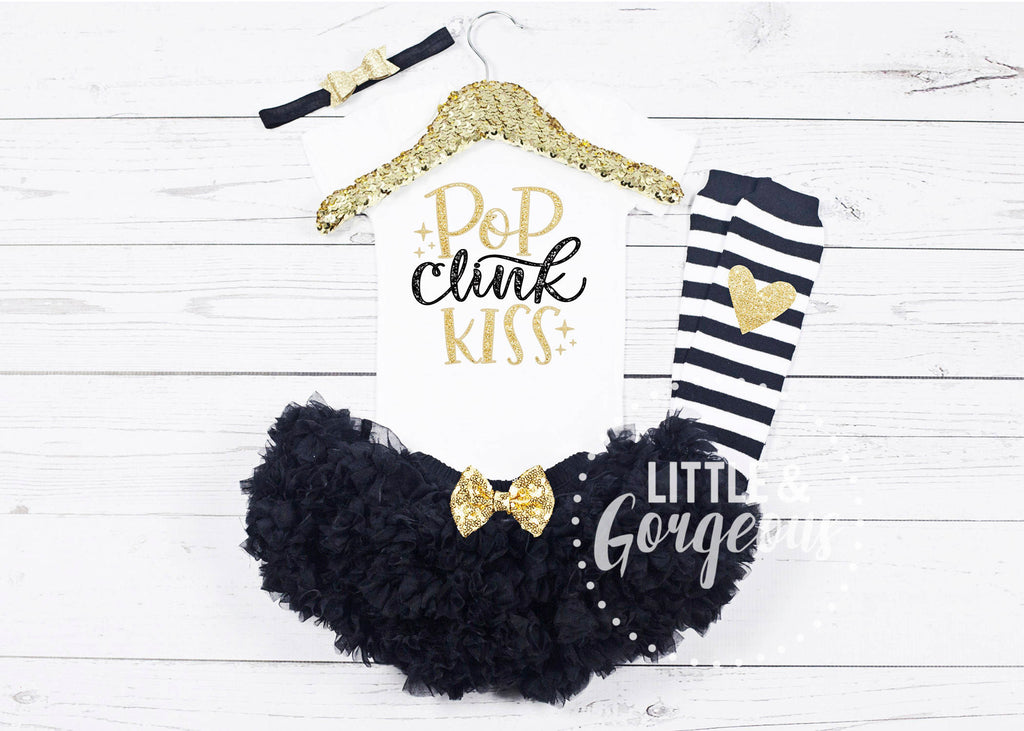 Girls My First New Years Outfit 1st New Years Onesie Pop Clink Fizz Tutu