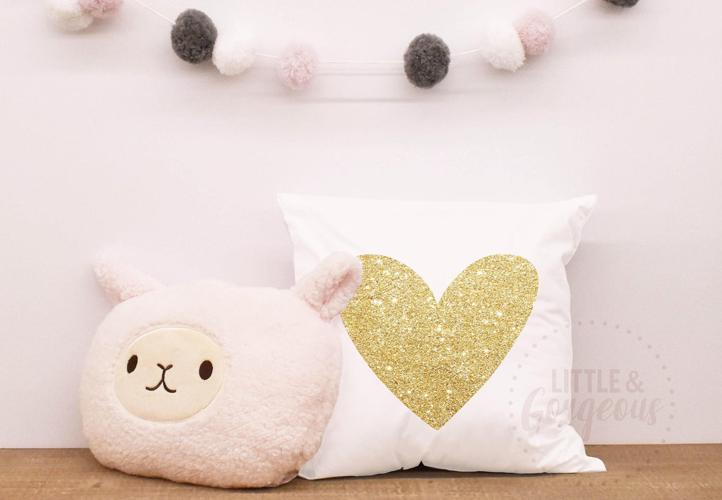 Girls Glitter Heart Pillow Cover, Heart Throw Pillow, Girls Nursery Pillow, Girls Nursery, Girls Room Decor, Gold Glitter Pillow