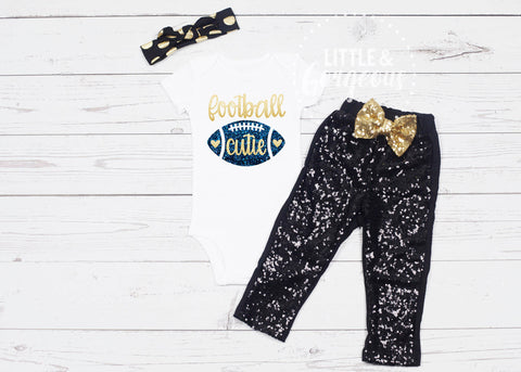Girls Football Cutie Outfit Football Outfit Sunday Football Touchdowns Football Outfit Baby Girl Football Onesie Fall Outfit