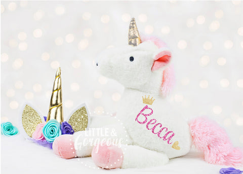 Girls Personalized Unicorn Plush, First Birthday Unicorn, Unicorn Toy, Unicorn Birthday, Christmas Unicorn Gift, Flower Girl, Birthday Girl