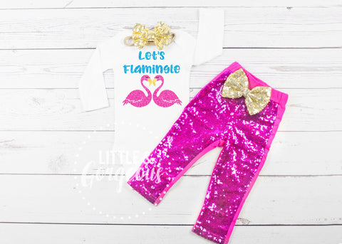 Girls Flamingo Birthday Outfit Let's Flamingle Onesie Shirt