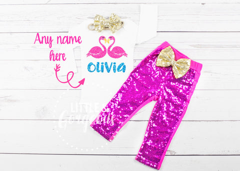 Girls Flamingo Birthday Outfit Girls Flamingo Outfit Valentine Onesie Personalized Flamingo Onesie Outfit Girls Flamingo Shirt