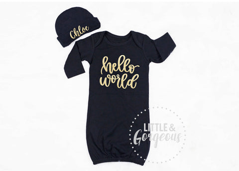Baby Girl Going Home Outfit Hello World Newborn Outfit Newborn Gown Baby Shower Gift Coming Home Outfit Baby Gown Baby Gift Baby Girl