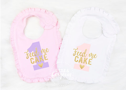 First Birthday Outfit Girl First Birthday Bib Girls 1st Birthday Cake Smash Girls Feed Me Cake Bib