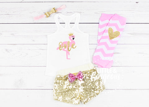 Girls Flamingo First Birthday Outfit 1st Birthday Outfit Flamingo Tank top Baby Girl One Birthday 1st Birthday Flamingo Sequin Shorts