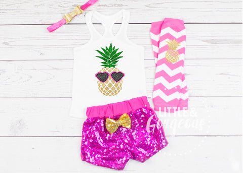 Girls Luau Pineapple Outfit Summer Tank top Sparkle Shorts