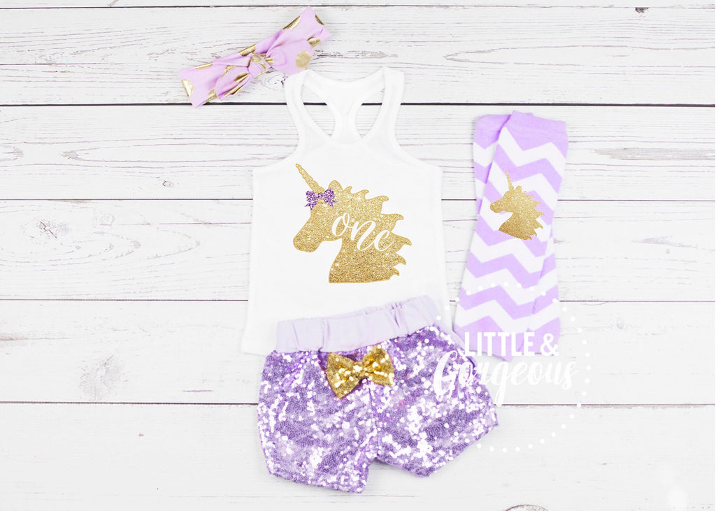 Girls 1st Birthday Outfit First Birthday Outfit Unicorn Birthday Party Baby Girl One Birthday Sequin Shorts