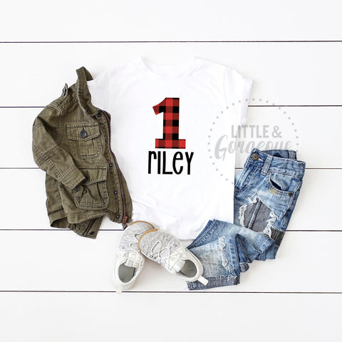 First Birthday Outfit Boy Boys 1st Birthday Shirt Woodland Buffalo Plaid 1st Birthday Outfit Lumberjack in the Woods