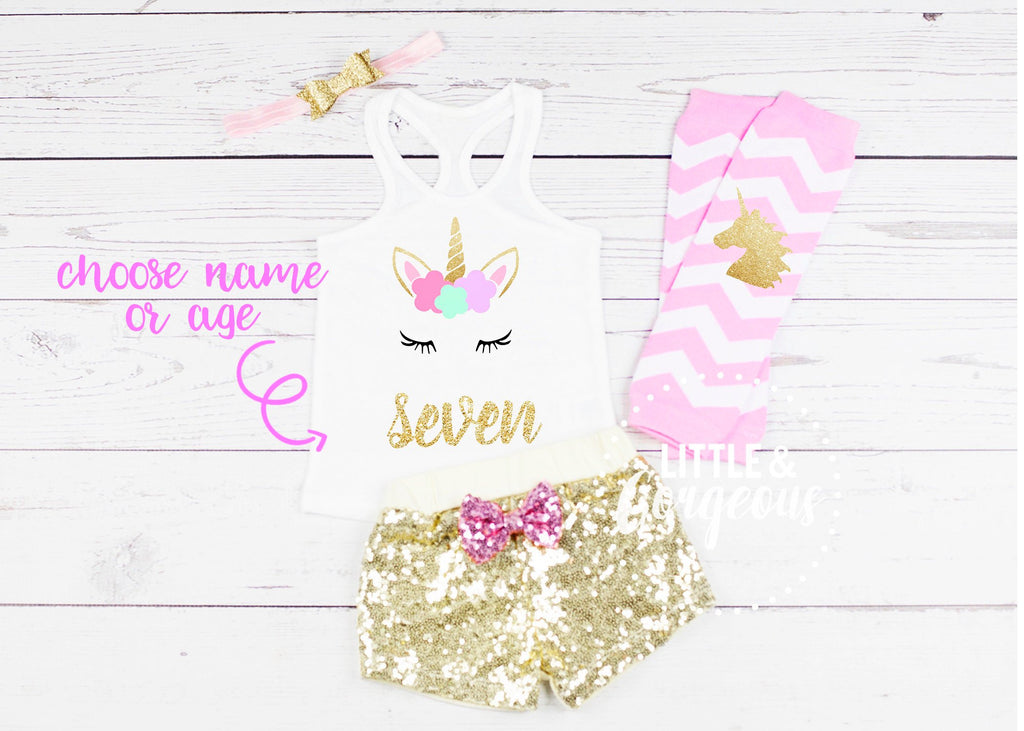 Seven Birthday Outfit Unicorn 7th Birthday Outfit Unicorn Tank top Girls Seventh Birthday Shirt 7th Birthday Unicorn