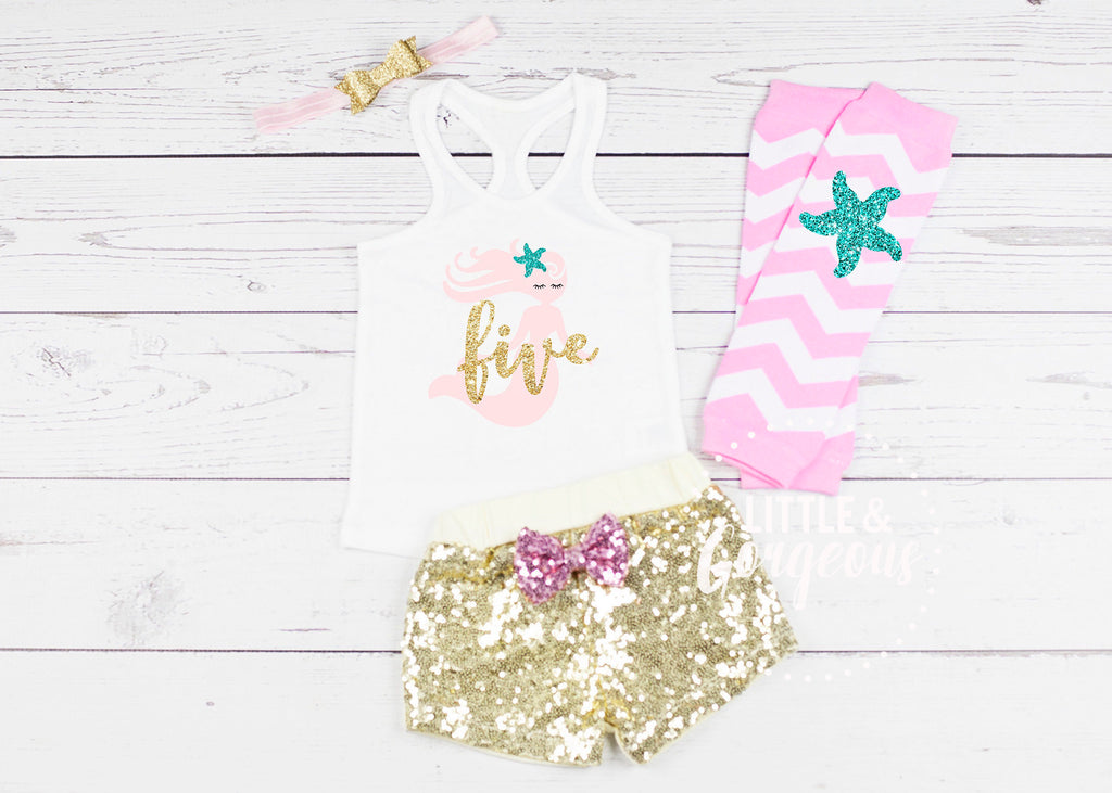 Girls Mermaid Fifth Birthday Outfit 5th Birthday Outfit Mermaid Tank top Girls Five Birthday 5th Birthday Mermaid Sequin Shorts