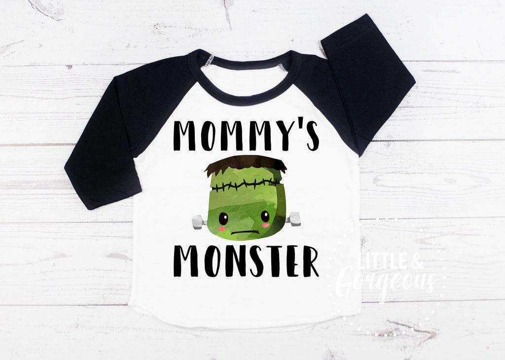 Kids Halloween Shirt Boys Frankenstein Toddler Raglan