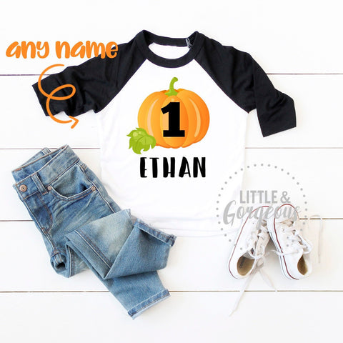 Boys First Birthday Pumpkin Shirt Boys Fall Thanksgiving Birthday