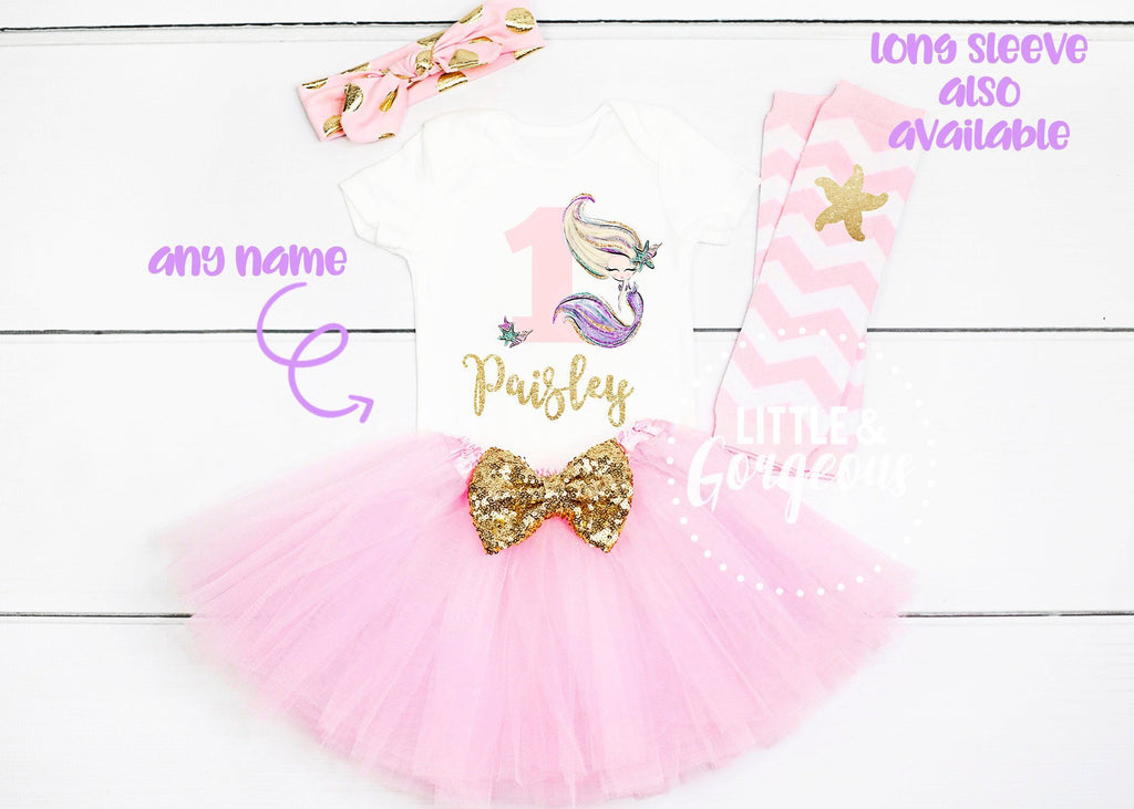 First Birthday Outfit Girl - Mermaid 1st Birthday Outfit - Girl First Birthday Outfit - Personalized 1st Birthday Girl - Cake Smash Outfit