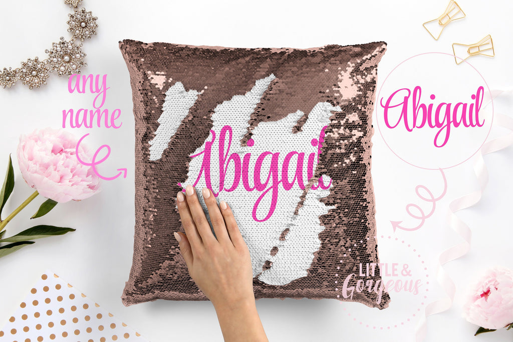 Personalized Sequin Pillow Monogrammed Sequin Mermaid Pillow Gift for her Girls Mermaid Pillow Girls Room Decor Pillow Form