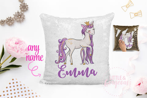 Personalized Unicorn Pillow Sequin Pillow Gift for her Girls Mermaid Pillow Girls Room Decor Pillow Form Sequin Magic Reversible Sequin