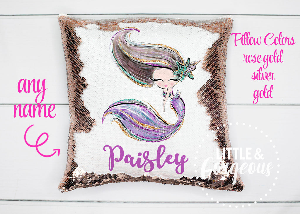 Mermaid Pillow Sequin Pillow Personalized Mermaid Sequin Pillow Gift for her Girls Mermaid Pillow Girls Room Decor Pillow Cover