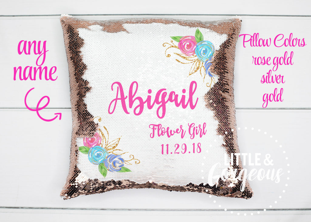 Personalized Flower Girl Gift Flower Girl Proposal Personalized Sequin Pillow Monogrammed Sequin Mermaid Pillow Gift for her Girls Pillow